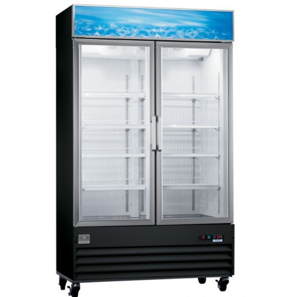 Kelvinator 738111 2-Glass Door Merchandiser Freezer, Black, 27 cu. ft