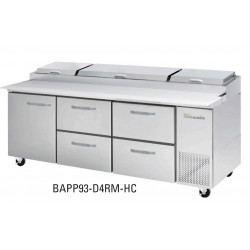 Blue Air BAPP93-D4RM-HC All Stainless Pizza Prep Table with 4 Drawers and 1 Solid Door to the Left