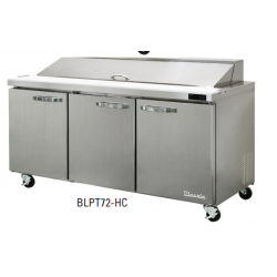 """Blue Air BLPT72-HC 3 Door All Stainless Prep. Table with 18 Pans /72"""""""