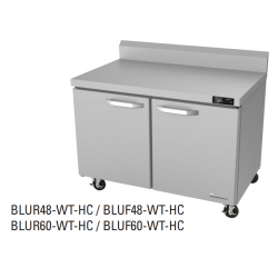 "Blue Air BLUF48-WT-HC 48"" 2 Door All Stainless Steel Work Top Freezer- 13.1 cft"